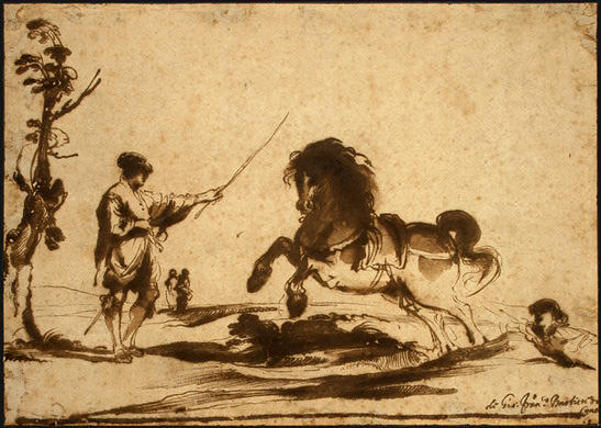 Landscape with the Taming of a Horse, Drawing by Guercino (Barbieri, Giovanni Francesco) (1591-1666, Italy)