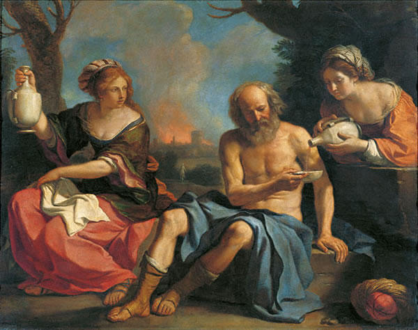 Loth and his doughters 1, Oil by Guercino (Barbieri, Giovanni Francesco) (1591-1666, Italy)