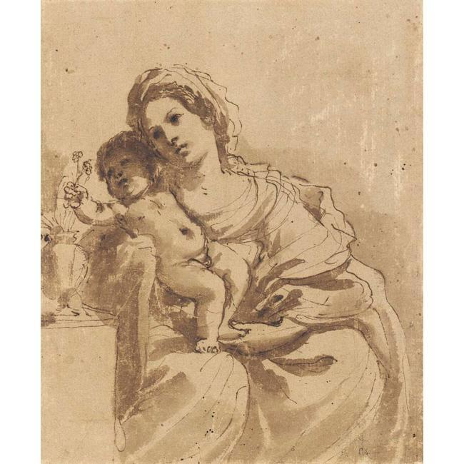MADONNA AND CHILD, Drawing by Guercino (Barbieri, Giovanni Francesco) (1591-1666, Italy)