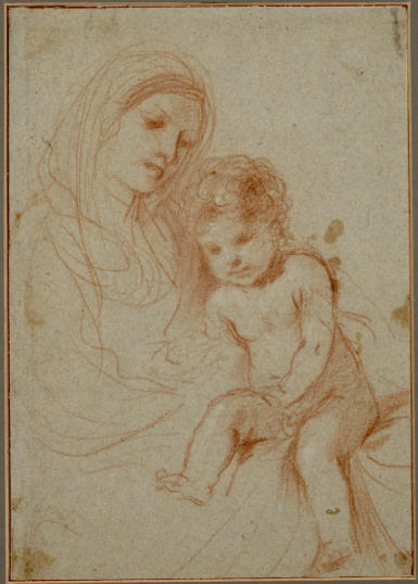 Madonna and the Child 1, Drawing by Guercino  (order Fine Art Framed Giclee Guercino (Barbieri, Giovanni Francesco))