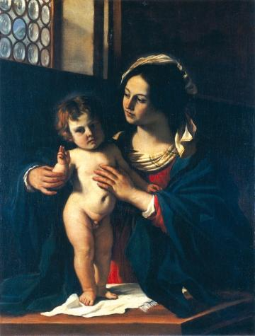Madonna and the Child, Oil by Guercino (Barbieri, Giovanni Francesco) (1591-1666, Italy)