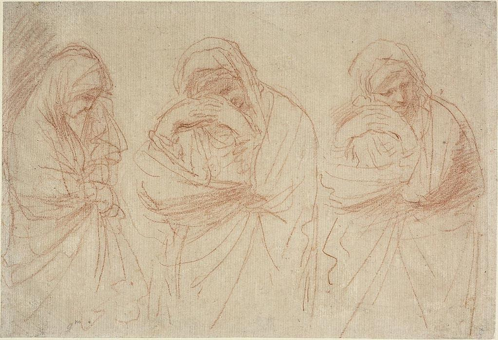 Madonna Mourning. Studies for the Entombment of Christ, Drawing by Guercino (Barbieri, Giovanni Francesco) (1591-1666, Italy)