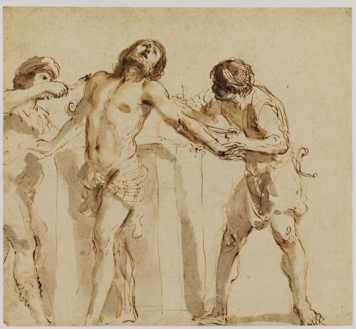 Martyrdom of Saint Bartholomew, Drawing by Guercino (Barbieri, Giovanni Francesco) (1591-1666, Italy)