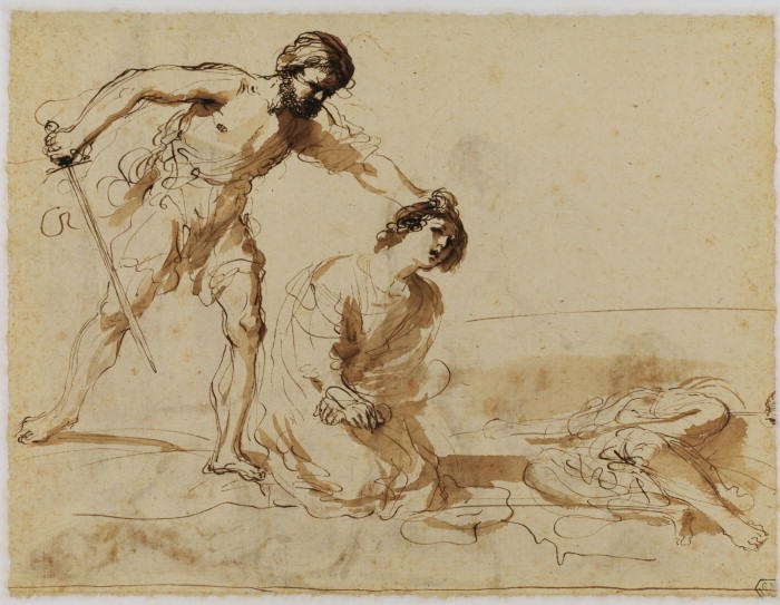 Martyrdom of Saints John and Paul (verso), Drawing by Guercino (Barbieri, Giovanni Francesco) (1591-1666, Italy)