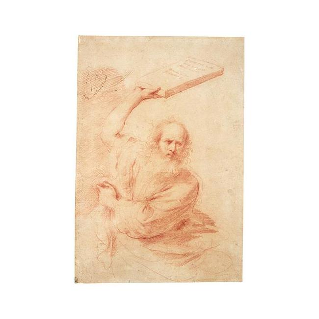 MOSES, Drawing by Guercino (Barbieri, Giovanni Francesco) (1591-1666, Italy)