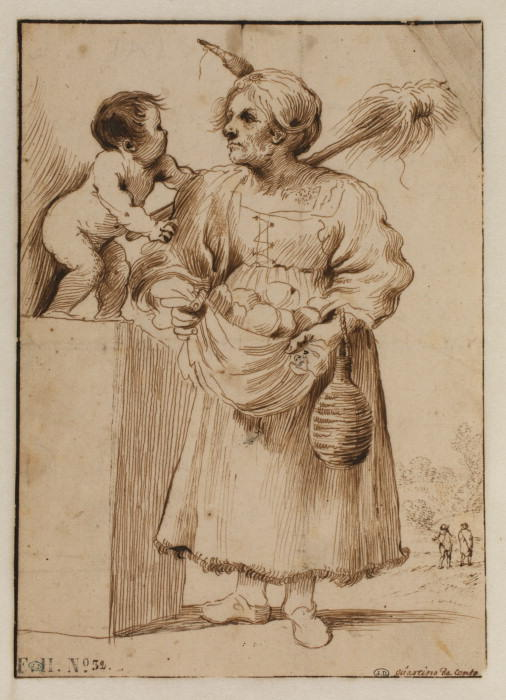 Old woman with a small child, Drawing by Guercino (Barbieri, Giovanni Francesco) (1591-1666, Italy)