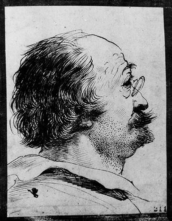 Portrait of a Man, Drawing by Guercino (Barbieri, Giovanni Francesco) (1591-1666, Italy)