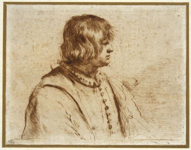 Profile Portrait, Drawing by Guercino (Barbieri, Giovanni Francesco) (1591-1666, Italy)