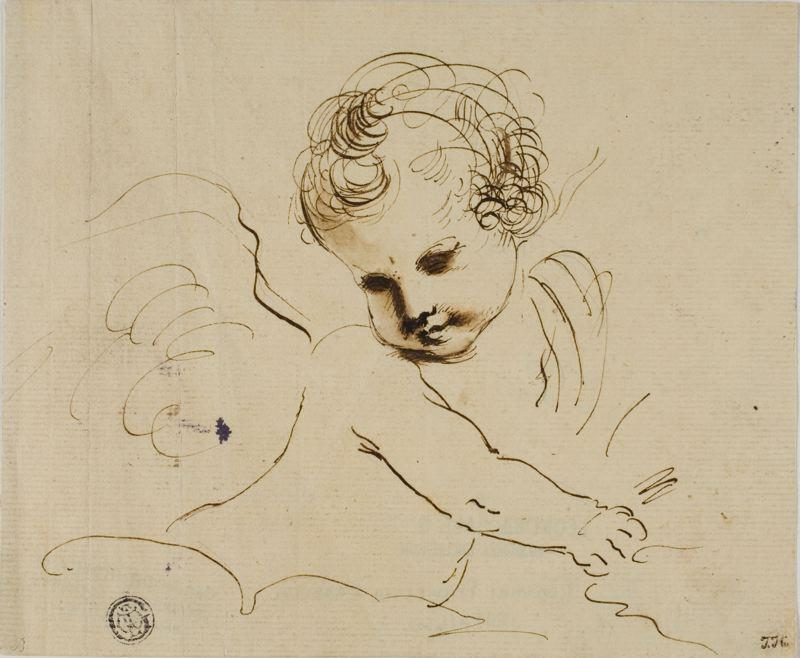 Putto in the Clouds, Drawing by Guercino (Barbieri, Giovanni Francesco) (1591-1666, Italy)