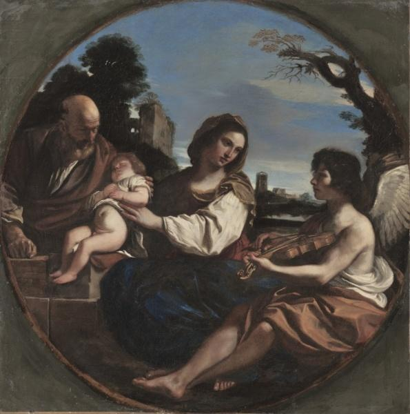Rest on the Flight into Egypt, Oil by Guercino (Barbieri, Giovanni Francesco) (1591-1666, Italy)