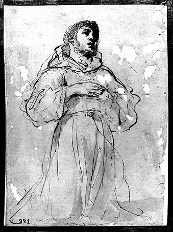 Saint Francis in Adoration, Drawing by Guercino (Barbieri, Giovanni Francesco) (1591-1666, Italy)