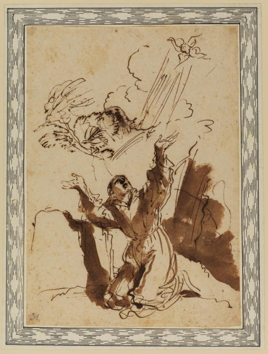 Saint Francis receiving the stigmata, Drawing by Guercino (Barbieri, Giovanni Francesco) (1591-1666, Italy)