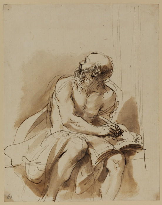 Seated figure of Saint Jerome, Drawing by Guercino (Barbieri, Giovanni Francesco) (1591-1666, Italy)