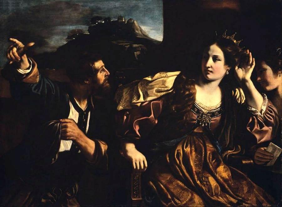 Semiramis Receiving Word of the Revolt of Babylon, Oil by Guercino (Barbieri, Giovanni Francesco) (1591-1666, Italy)