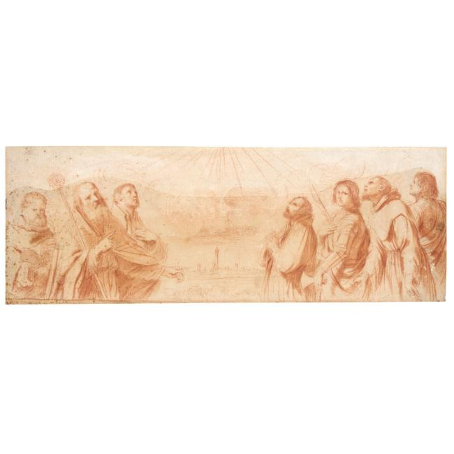 SEVEN SAINTS, Drawing by Guercino (Barbieri, Giovanni Francesco) (1591-1666, Italy)