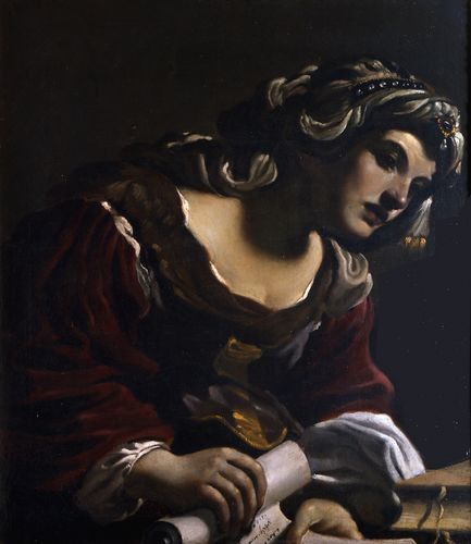 Sibilla, Oil by Guercino (Barbieri, Giovanni Francesco) (1591-1666, Italy)