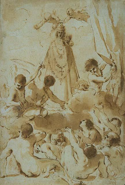 Souls in Purgatory Supplicating the Madonna of Loreto, Drawing by Guercino (Barbieri, Giovanni Francesco) (1591-1666, Italy)