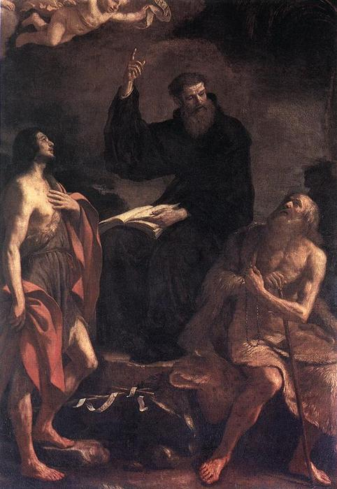 St Augustine, St John the Baptist and St Paul the Hermit by Guercino (Barbieri, Giovanni Francesco) (1591-1666, Italy) | ArtsDot.com