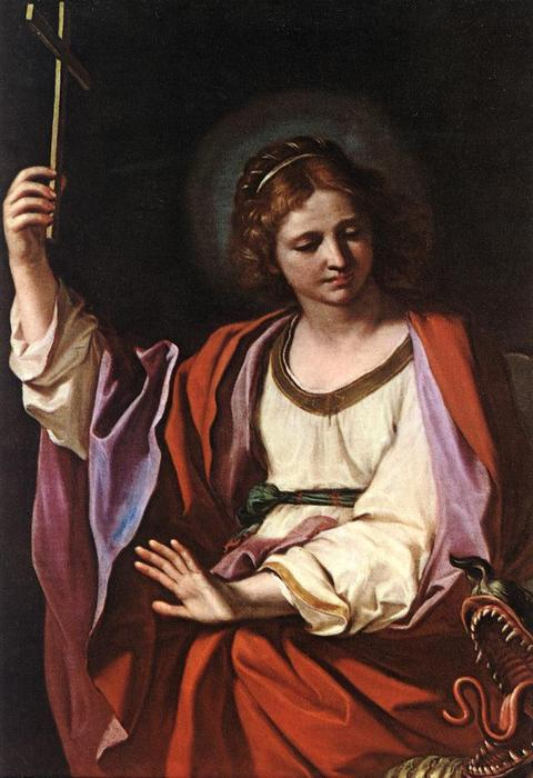 St Marguerite, Oil by Guercino (Barbieri, Giovanni Francesco) (1591-1666, Italy)