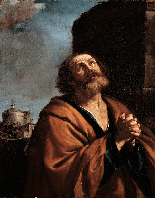St Peter Penitent, Oil by Guercino (Barbieri, Giovanni Francesco) (1591-1666, Italy)