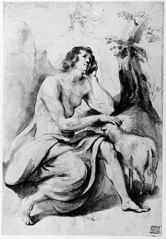 St. John the Baptist in the Wilderness 1, Drawing by Guercino (Barbieri, Giovanni Francesco) (1591-1666, Italy)