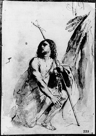 St. John the Baptist in the Wilderness, Drawing by Guercino (Barbieri, Giovanni Francesco) (1591-1666, Italy)