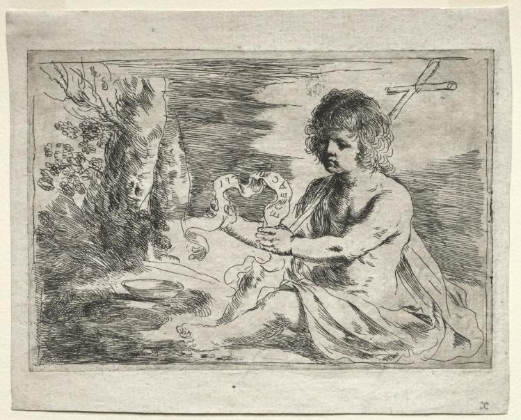 St. John the Baptist, Drawing by Guercino (Barbieri, Giovanni Francesco) (1591-1666, Italy)