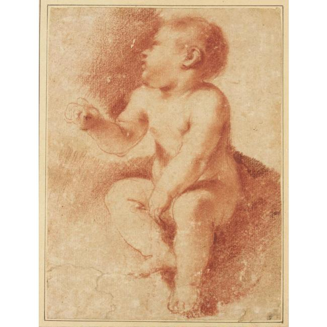 STUDY FOR THE CHRIST CHILD, Drawing by Guercino (Barbieri, Giovanni Francesco) (1591-1666, Italy)