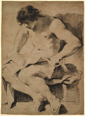 Study of a Seated Young Man, Drawing by Guercino (Barbieri, Giovanni Francesco) (1591-1666, Italy)