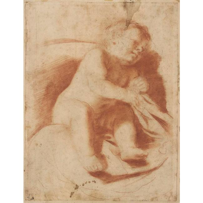 STUDY OF A SLEEPING CHILD, Drawing by Guercino (Barbieri, Giovanni Francesco) (1591-1666, Italy)