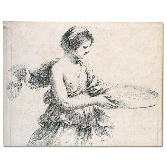 Study of a woman holding a sieve, Drawing by Guercino (Barbieri, Giovanni Francesco) (1591-1666, Italy)