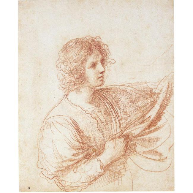 STUDY OF A YOUTH HOLDING A SWAG OF DRAPERY, Drawing by Guercino (Barbieri, Giovanni Francesco) (1591-1666, Italy)