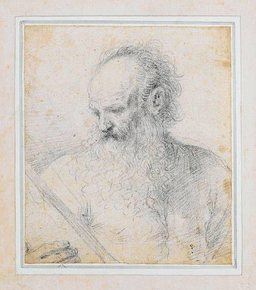 Study of Saint Matthew turned to his right, reading a book, Drawing by Guercino (Barbieri, Giovanni Francesco) (1591-1666, Italy)