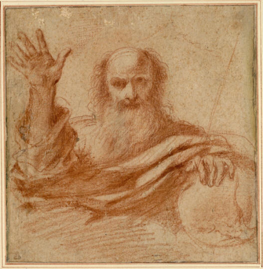 Study of the God Almighty, Drawing by Guercino (Barbieri, Giovanni Francesco) (1591-1666, Italy)
