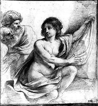 Susanna and the Elders 1, Drawing by Guercino (Barbieri, Giovanni Francesco) (1591-1666, Italy)