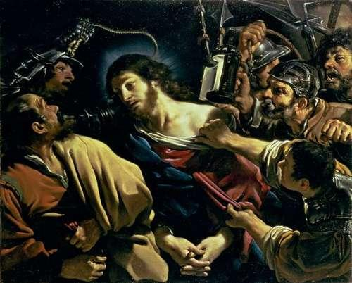The Betrayal of Christ, Oil by Guercino (Barbieri, Giovanni Francesco) (1591-1666, Italy)