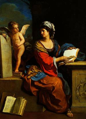 The Cumaean Sibyl with a Putto, Oil by Guercino (Barbieri, Giovanni Francesco) (1591-1666, Italy)