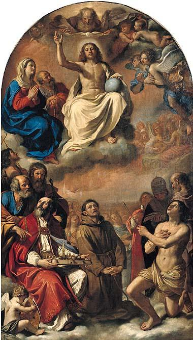 The glory of all saints, Oil by Guercino (Barbieri, Giovanni Francesco) (1591-1666, Italy)