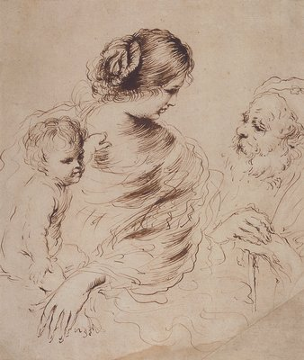 The Holy Family, Drawing by Guercino (Barbieri, Giovanni Francesco) (1591-1666, Italy)