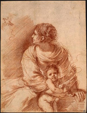The Madonna and Child with an Escaped Goldfinch by Guercino (Barbieri, Giovanni Francesco) (1591-1666, Italy) | Art Reproduction | ArtsDot.com