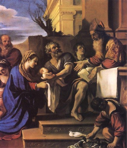 The presentation of Jesus in the church, Oil by Guercino (Barbieri, Giovanni Francesco) (1591-1666, Italy)