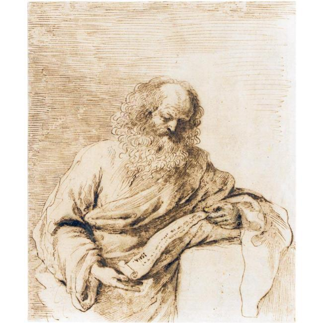 THE PROPHET ISAIAH READING FROM A SCROLL, Drawing by Guercino (Barbieri, Giovanni Francesco) (1591-1666, Italy)
