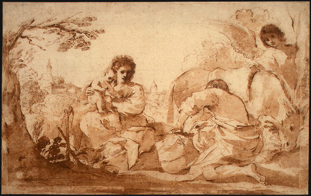 The Rest on the Flight into Egypt, Drawing by Guercino (Barbieri, Giovanni Francesco) (1591-1666, Italy)
