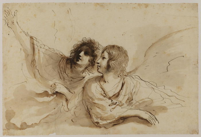 Two angels, looking up to the left, leaning on a cloud, Drawing by Guercino (Barbieri, Giovanni Francesco) (1591-1666, Italy)