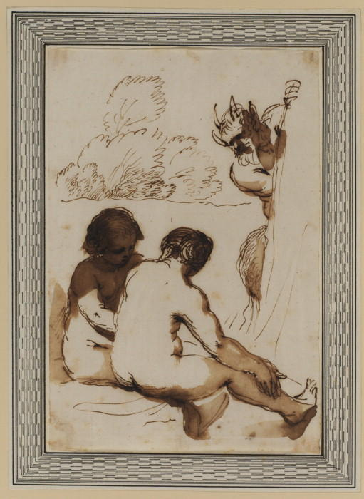 Two nymphs and a satyr, Drawing by Guercino (Barbieri, Giovanni Francesco) (1591-1666, Italy)
