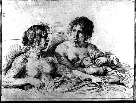 Two Women and an Infant, Drawing by Guercino (Barbieri, Giovanni Francesco) (1591-1666, Italy)