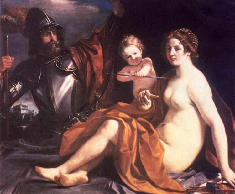 Venus, Mars and Cupid, Oil by Guercino (Barbieri, Giovanni Francesco) (1591-1666, Italy)