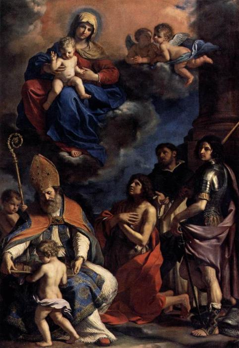 Virgin and Child with Four Saints, Oil by Guercino (Barbieri, Giovanni Francesco) (1591-1666, Italy)