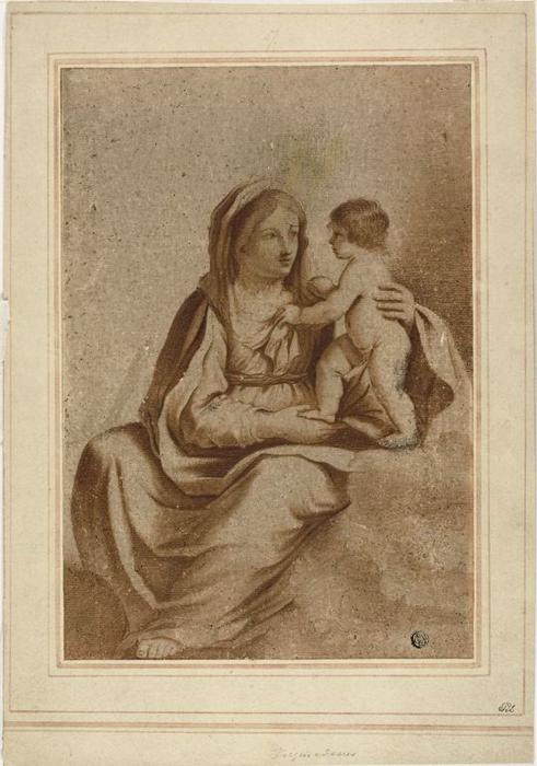 Virgin and Child, Drawing by Guercino (Barbieri, Giovanni Francesco) (1591-1666, Italy)