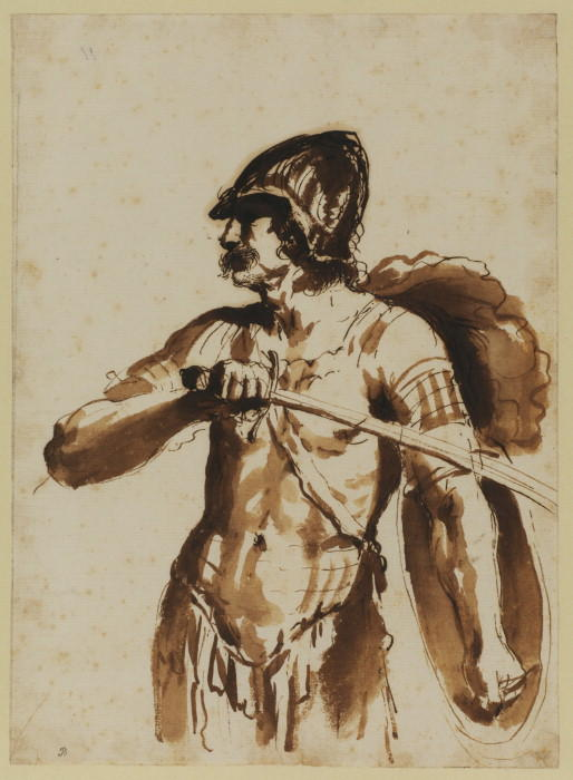 Warrior - study for 'Hersilia separating Romulus and Tatius', Drawing by Guercino (Barbieri, Giovanni Francesco) (1591-1666, Italy)